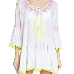 Surf Gypsy Swim Cover-Up Dress Tassels Bell Sleeve